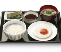 なか卯の目玉焼き朝食(200円)wwwwwwwww